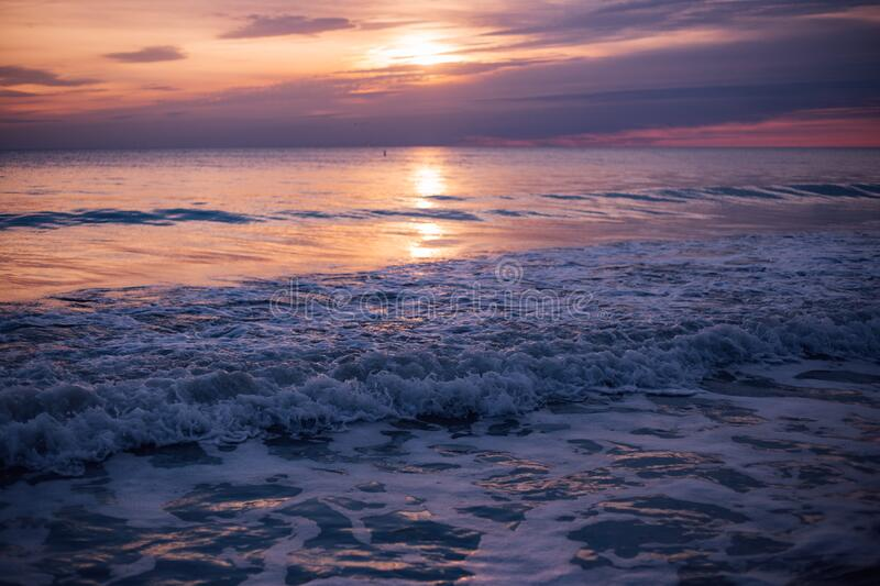 Sea Waves during Sun Set stock image