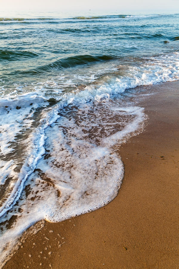 Sea waves in the white foam on the sandy beach. Dawn.  stock photos