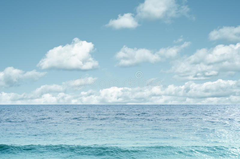 Sea And White Cloud Sky Background Stock Photo