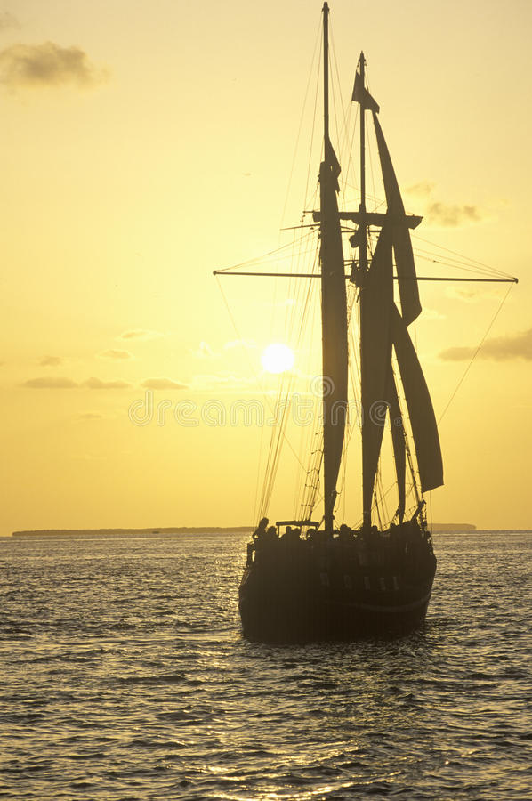 The Sea Wolf takes a sunset cruise in Key West, Florida royalty free stock photography