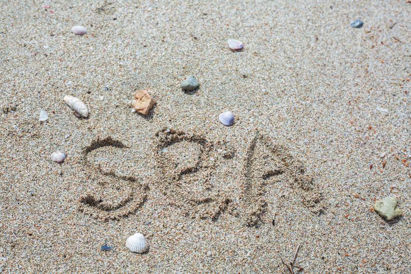 Word sea in the sand stock photo