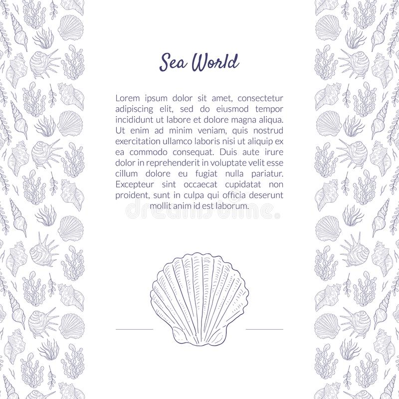 Sea World Banner Template with Place for Text and Underwater Natural Elements Pattern, Undersea World with Seaweed and. Seashells Hand Drawn Vector Illustration royalty free illustration
