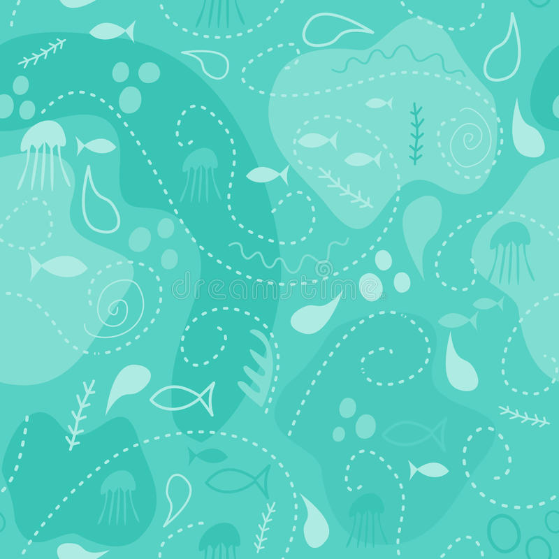 Sea world seamless pattern, under water world wallpaper with fish, octopus and vegetation. vector illustration