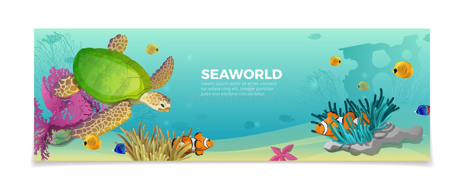Sea world underwater life nature travel vacation a. Sea world underwater life nature natural beauty template. Travel vacation agency web site flyer brochure royalty free illustration