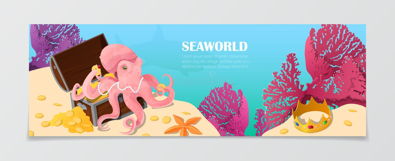 Sea world underwater life nature travel vacation a. Sea world underwater life nature natural beauty template. Time to travel vacation agency web site flyer vector illustration