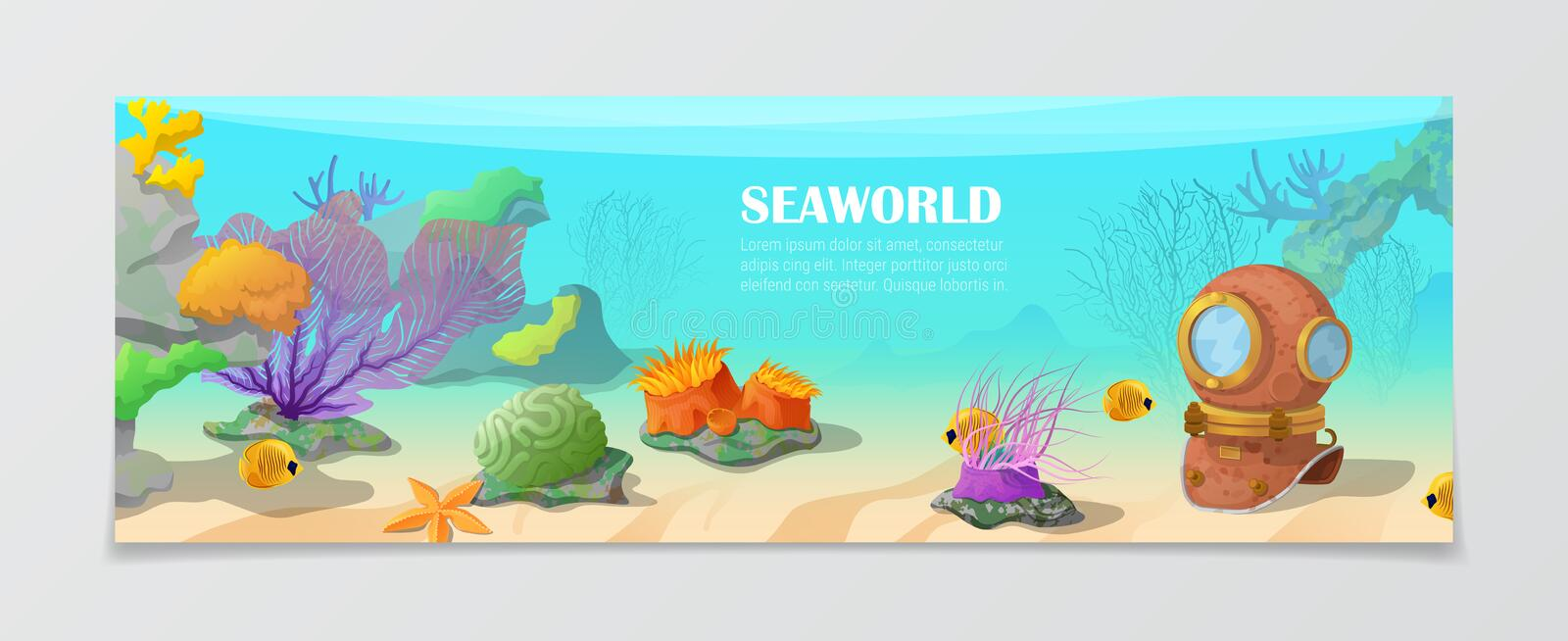 Sea world underwater life nature travel vacation a. Sea world underwater life nature natural beauty template. Time to travel vacation agency web site flyer stock illustration