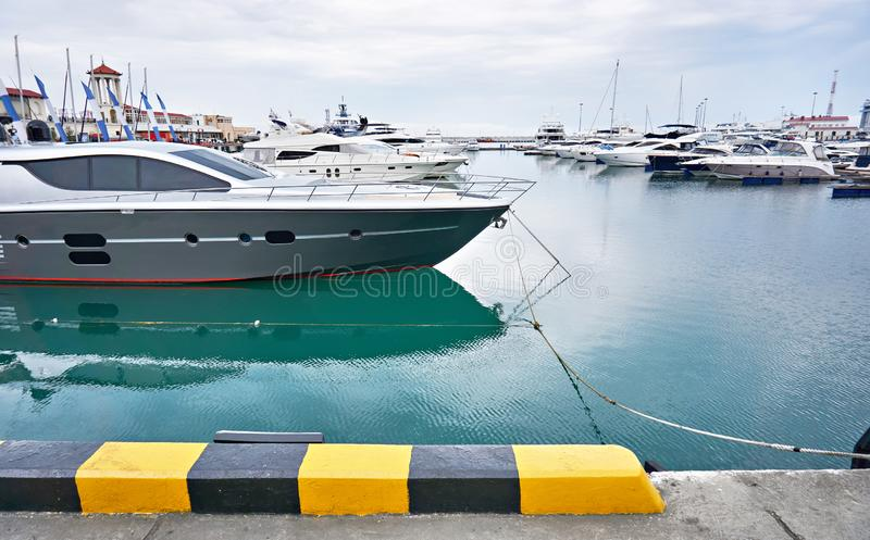 Sea Yacht Club. In cloudy day stock photo