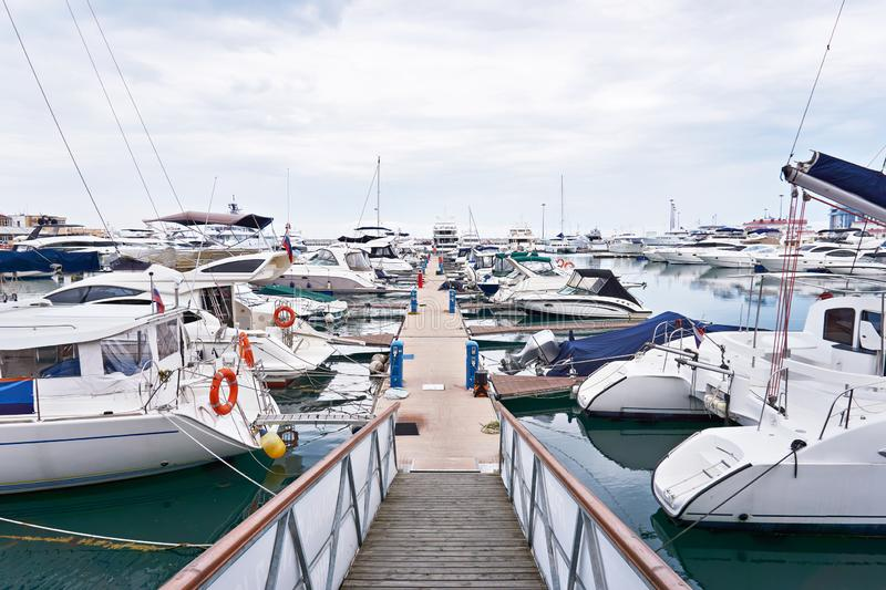 Sea Yacht Club. In cloudy day royalty free stock photos