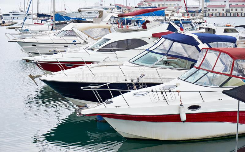 Sea Yacht Club. In cloudy day royalty free stock photo
