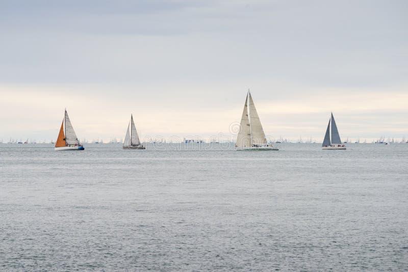 Sea yachts racing stock photos