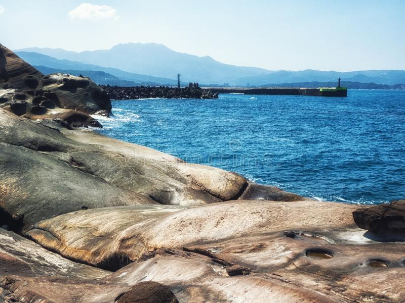Sea Yehliu Geopark. Seascape of the Yehliu Geopark stock photography