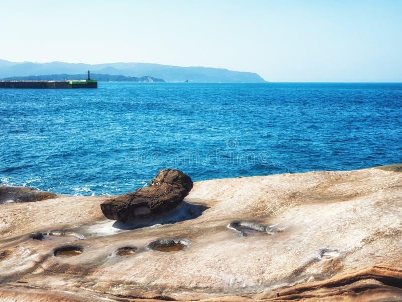 Sea Yehliu Geopark. Seascape of the Yehliu Geopark stock image