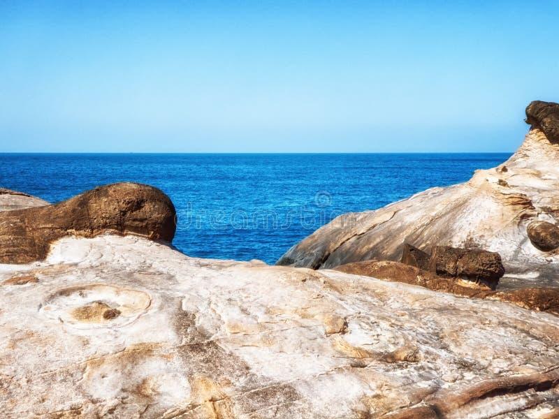 Sea Yehliu Geopark. Seascape of the Yehliu Geopark royalty free stock photo