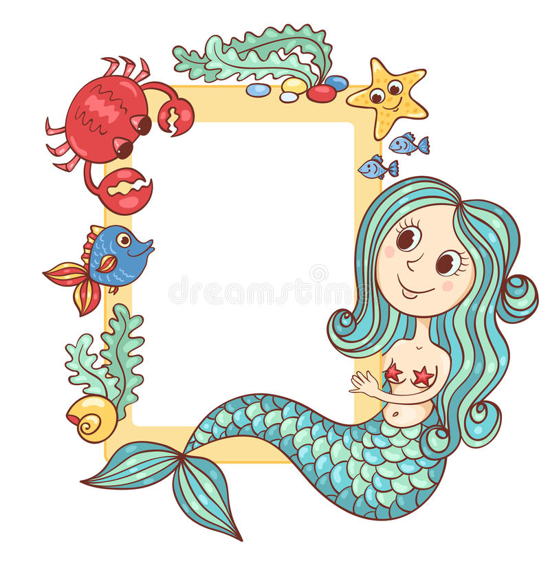 Sea Yellow Frame With The Mermaid And Marine Animals Stock Vector ...