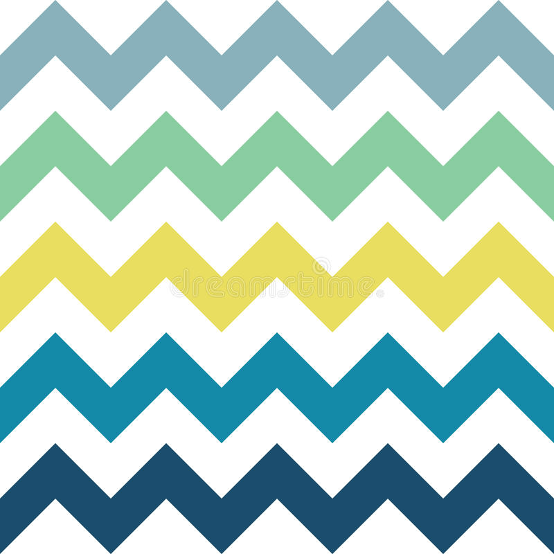 Sea Zigzag Pattern. Blue, yellow, green and white zigzag seamless pattern. Geometric background for business brochures, cards, website templates. Sea beach royalty free illustration
