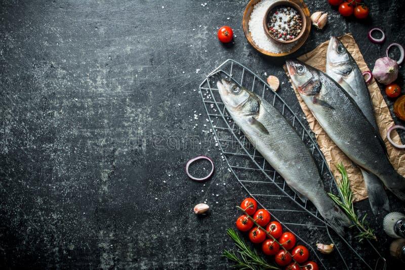 Seabass ακατέργαστων ψαριών σε ένα πλέγμα με τις ντομάτες και τα καρυκεύματα στοκ φωτογραφίες