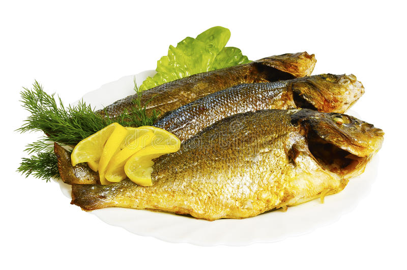 Seabass, dorado roasted with greens on the plate, isolated royalty free stock images