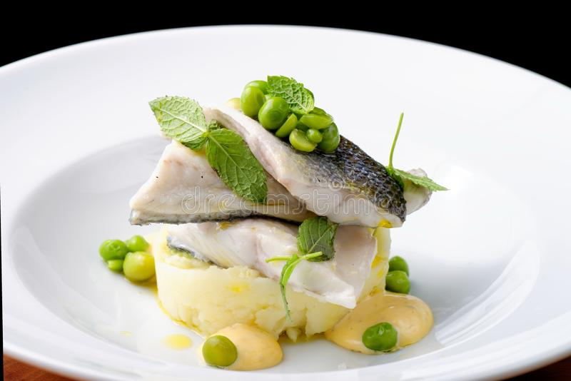 Seabass fillet with vegetable. And mashed potato royalty free stock image