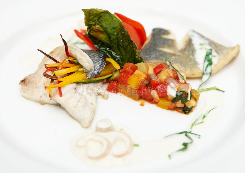 Seabass Haute Cuisine Dish Stock Image