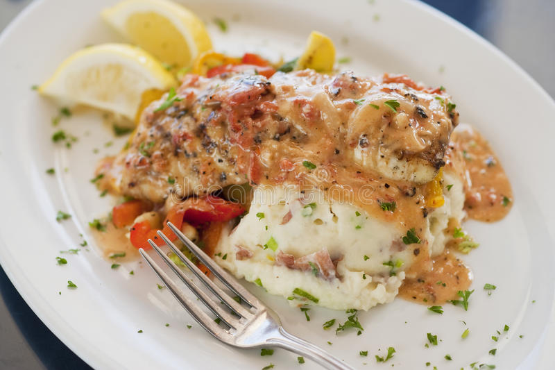 Seabass with mashed potatoes. And vegetables, Santa Barbara, California, United States of America royalty free stock photos
