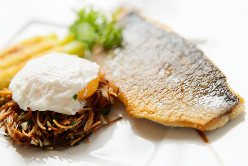 Download Seabass With Pasta And Poached Egg Stock Photo - Image: 15699340