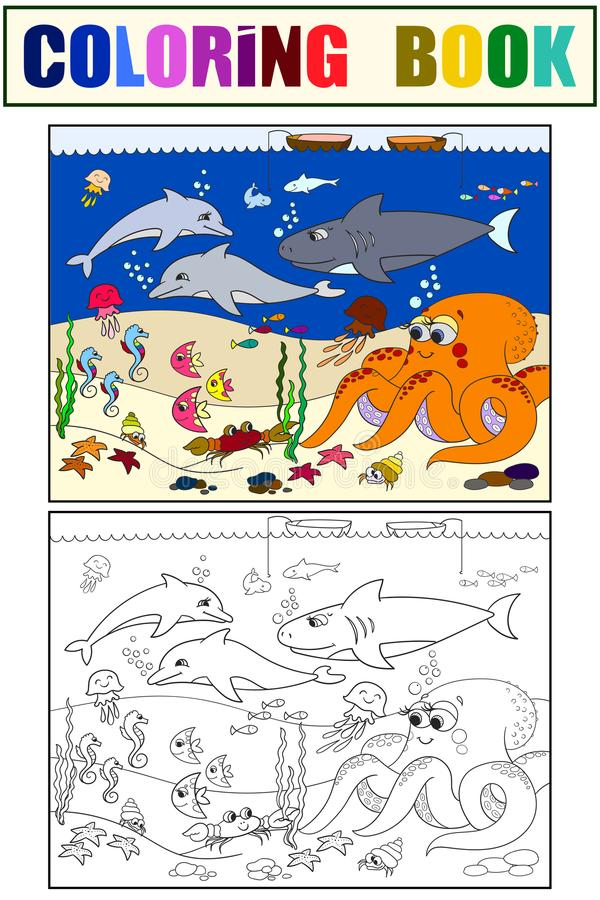 Seabed with marine animals. Vector coloring for kids, cartoon. Fish, octopus, shark, dolphin, boat, fishing, starfish, fish moon crab cancer bottom seaweed royalty free illustration