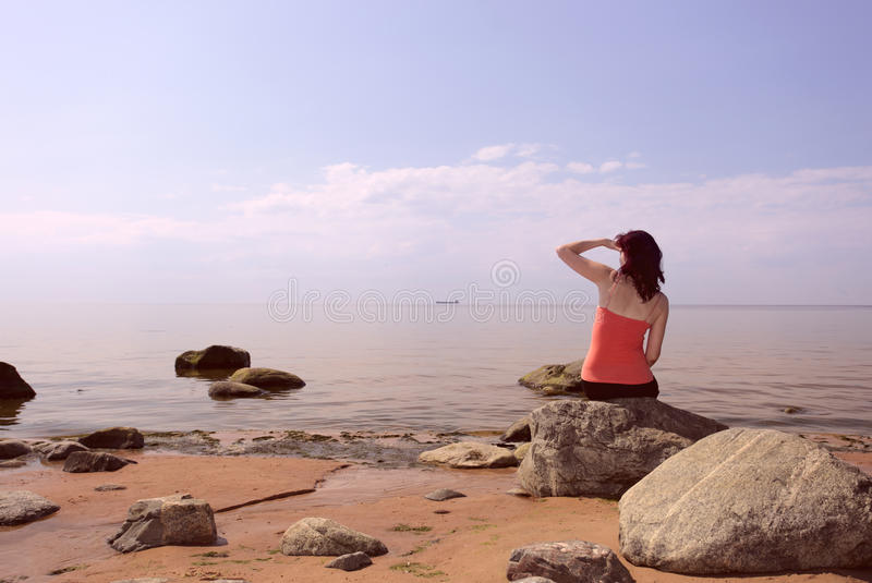 seacoast kobieta obraz stock