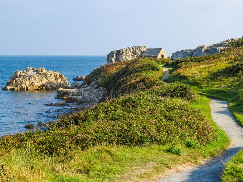 Seacoast na Guernsey wyspie fotografia stock