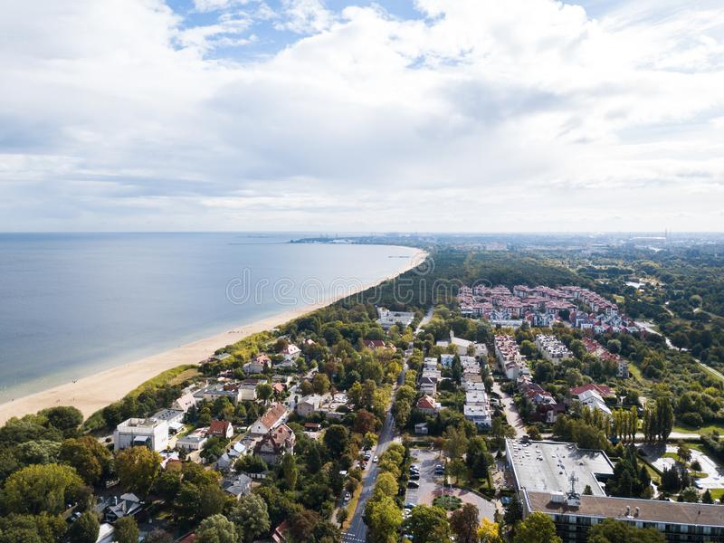 The seacoast of Sopot, Poland. Aerial view of the seacoast of Sopot, Poland stock image