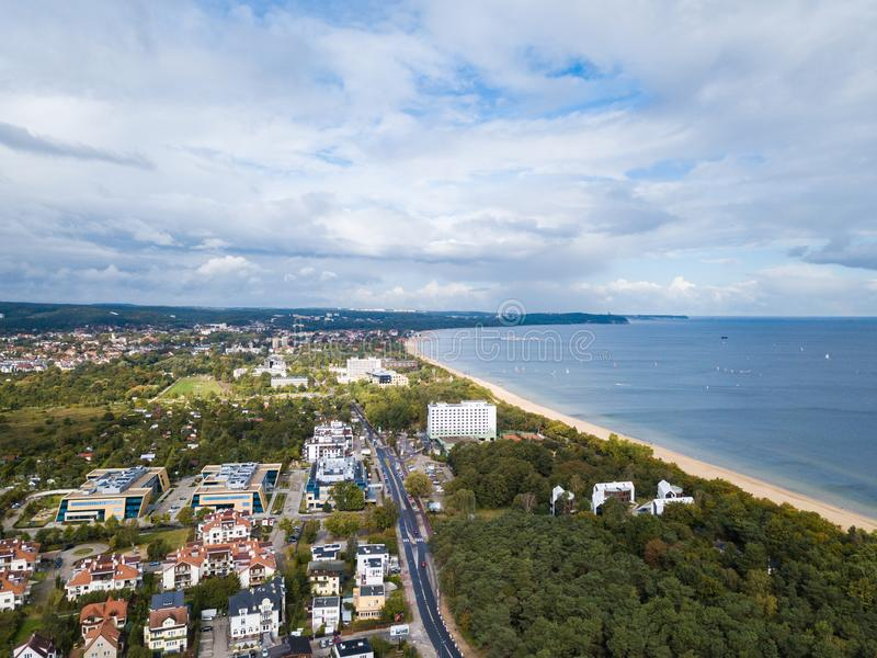 The seacoast of Sopot, Poland. Aerial view of the seacoast of Sopot, Poland royalty free stock image
