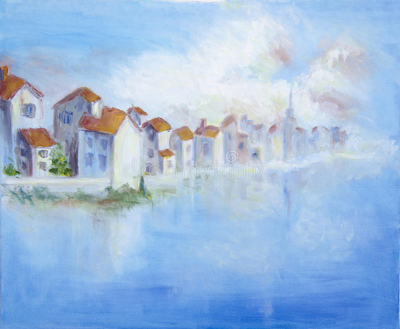 Download Seacoast with white town stock illustration. Illustration of coast - 25720431
