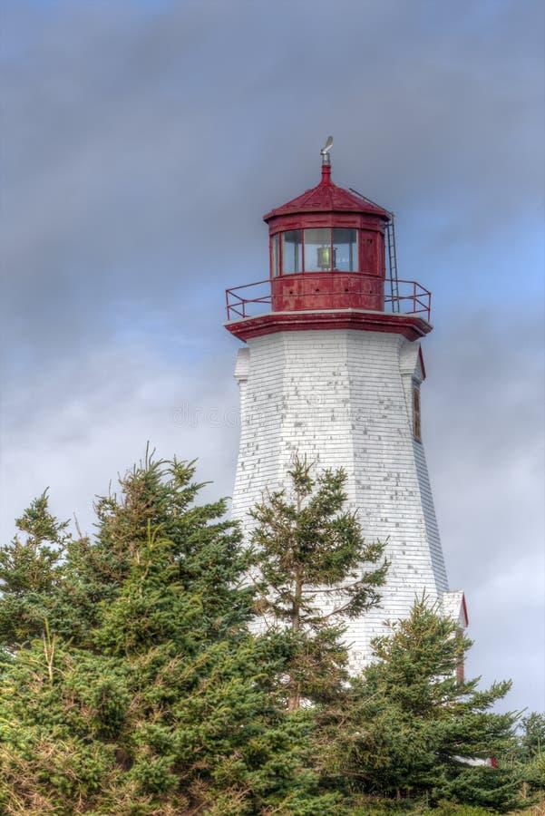 Seacow Head lighthouse, Prince Edward Island. Octagonal Seacow Head lighthouse, Prince Edward Island, Canada stock photo