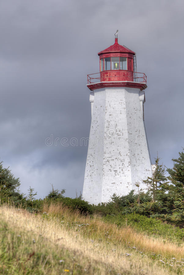 Seacow Head lighthouse, Prince Edward Island. Octagonal Seacow Head lighthouse, Prince Edward Island, Canada stock image
