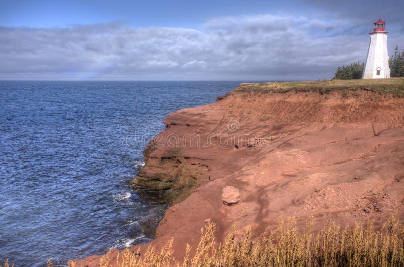 Seacow Head lighthouse, Prince Edward Island. Red sandstone coastline at Seacow Head lighthouse, Prince Edward Island, Canada royalty free stock images