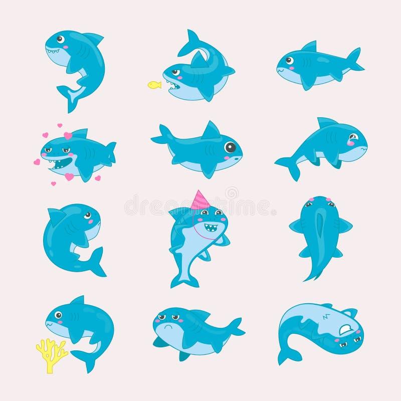 Seafish шаржа вектора акулы усмехаясь с острыми зубами в комплекте иллюстрации влюбленности друга expressionof характеров рыбозав бесплатная иллюстрация