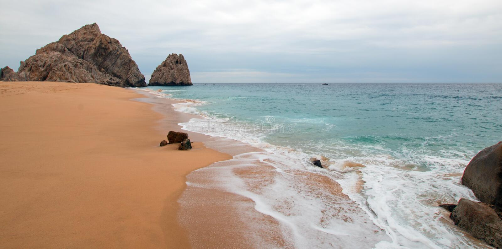 Seafoam on Divorce and Lovers Beach on the Pacific side of Lands End in Cabo San Lucas in Baja California Mexico. Seafoam Divorce and Lovers Beach on the Pacific stock photography