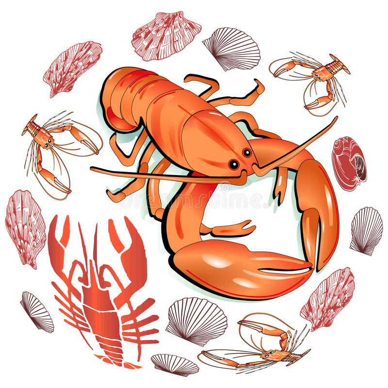 Download Seafood stock vector. Image of hungry, freshness, crustacean - 14916669
