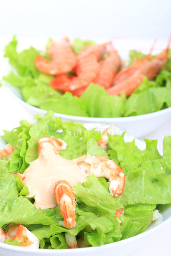 Seafood. White bowl with prawns salad and mayonnaise sauce royalty free stock image