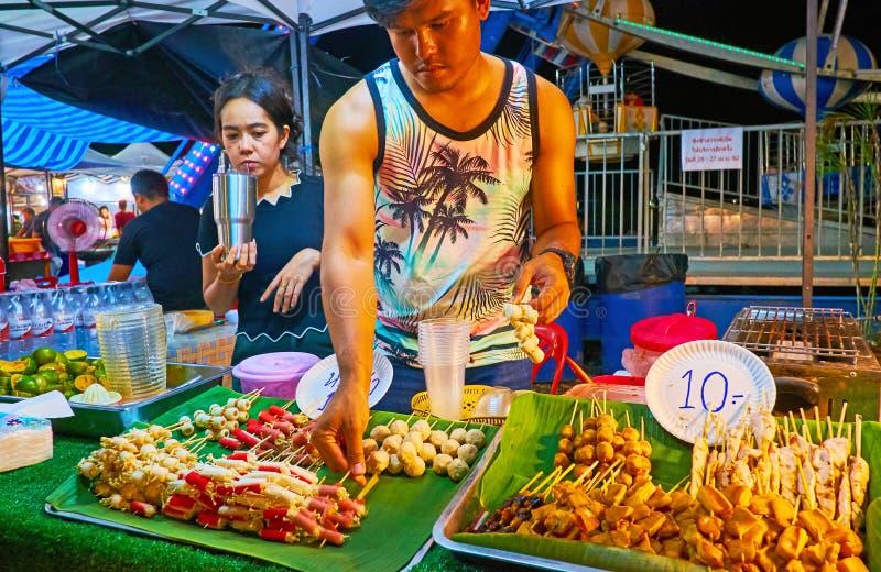 Seafood aon skewers, Ao Nang Night Market, Krabi, Thailand royalty free stock image