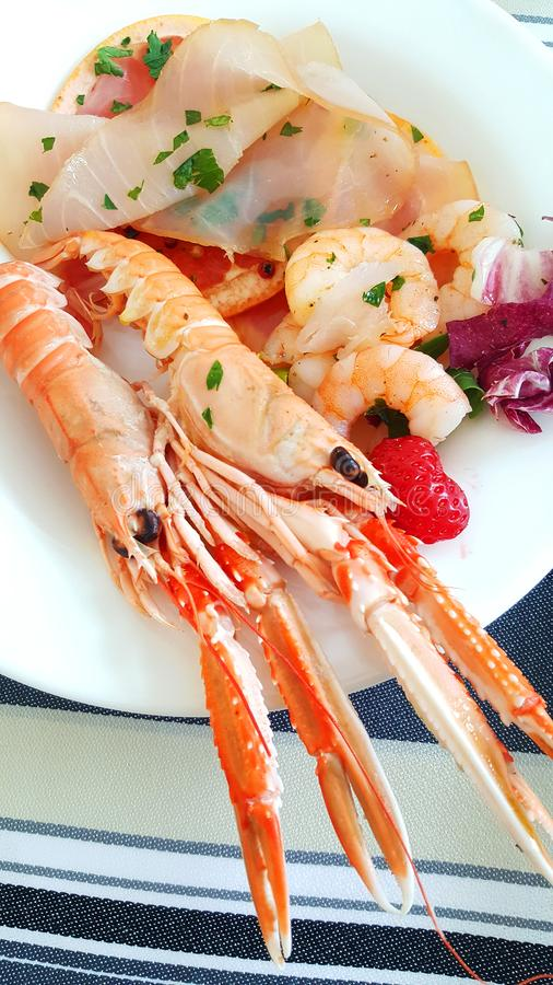 A seafood appetizer with prawn, tuna carpaccio and grapefruit slices royalty free stock photo