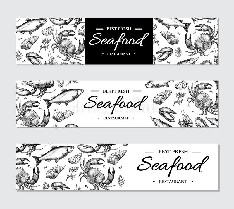 Seafood banner vector template set. Hand drawn illustration. Crab, lobster, shrimp, oyster, mussel,. Caviar and squid. Engraved style Fish and sea food stock illustration