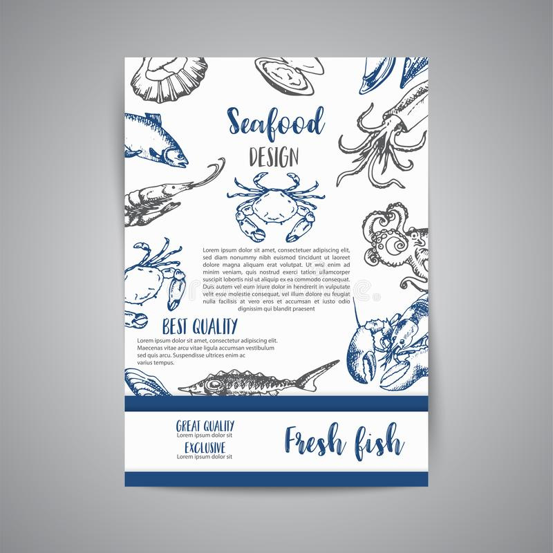 Seafood Banner Vector Template Set Hand Drawn Vector Illustrations