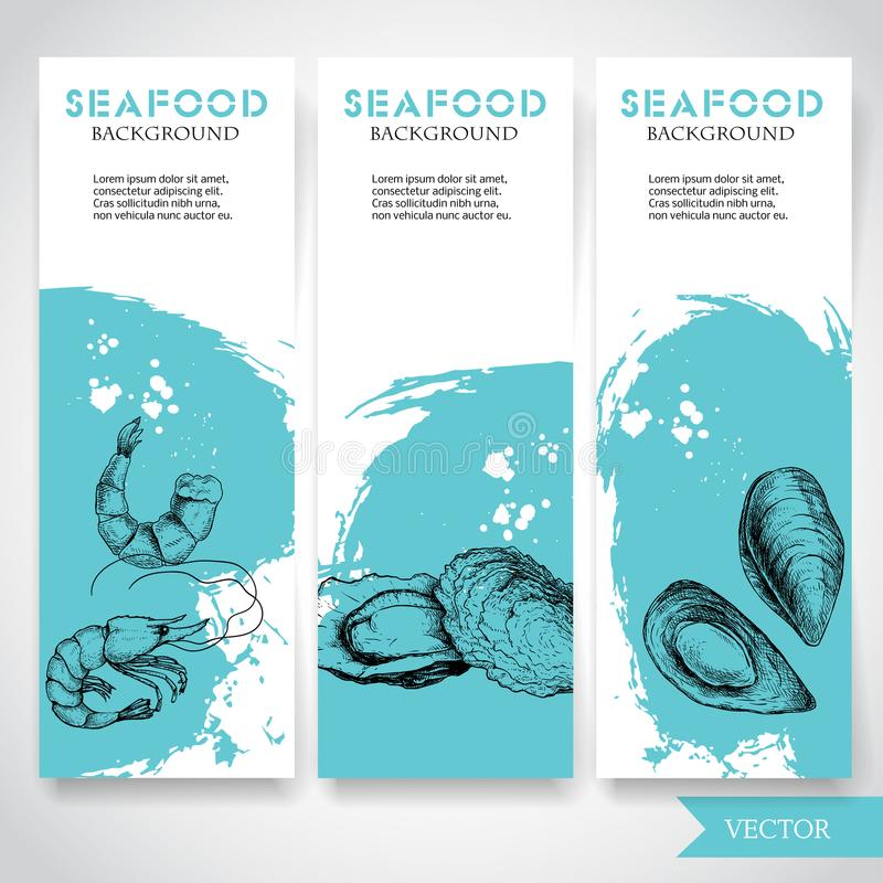 Seafood banner with watercolor blue background and hand drawn food. Sketch fresh shrimp, oysters and mussel shell. Restaurant and vector illustration
