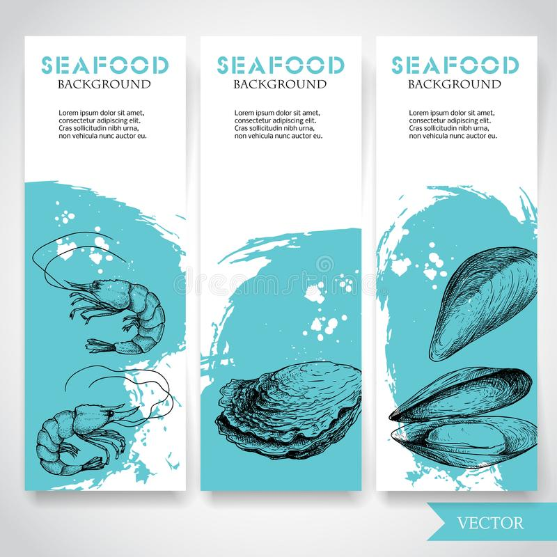 Seafood banner with watercolor blue background and hand drawn food. Sketch fresh shrimp, oysters and mussel shell. Restaurant and. Fish market template. Vector royalty free illustration