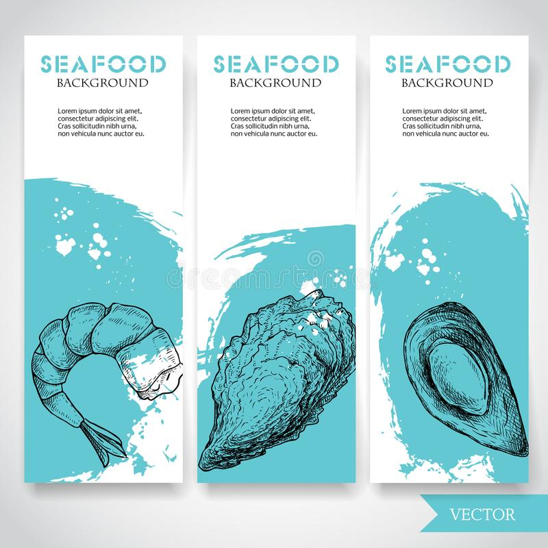 Seafood banner with watercolor blue background and hand drawn food. Sketch prepared shrimp, oyster and mussel shell. Restaurant an. D fish market template vector illustration