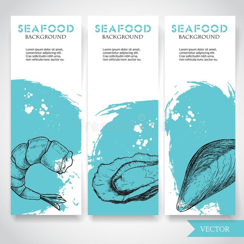 Free Seafood Banner With Watercolor Blue Background And Hand Drawn Food. Sketch Prepared Shrimp, Oyster And Mussel Shell. Restaurant An Stock Photography - 114133472