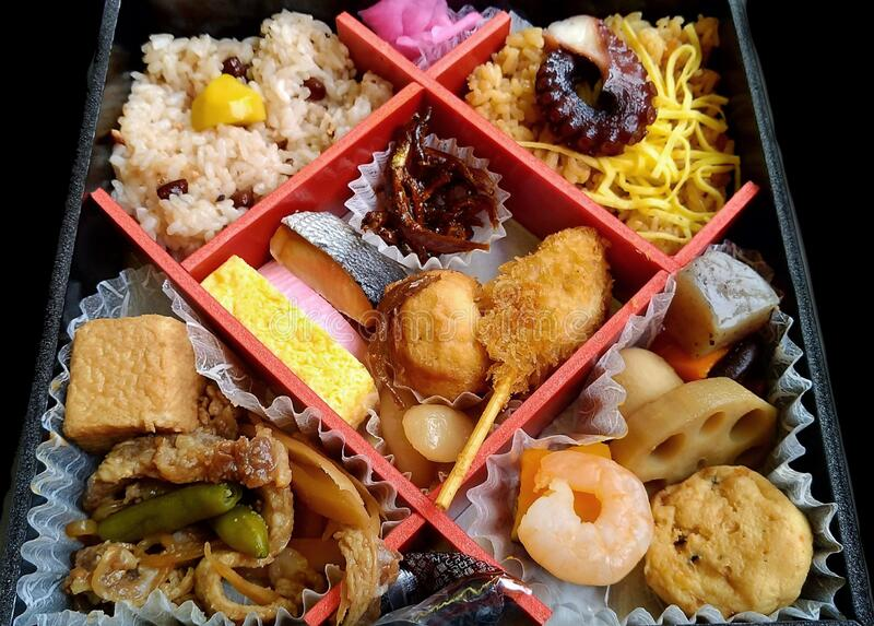 Seafood bento box in Japan lizenzfreies stockbild