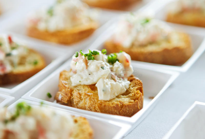 Seafood bruschetta royalty free stock image
