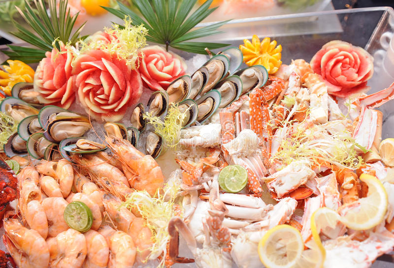 Seafood buffet. Line in hotel restaurant stock photos