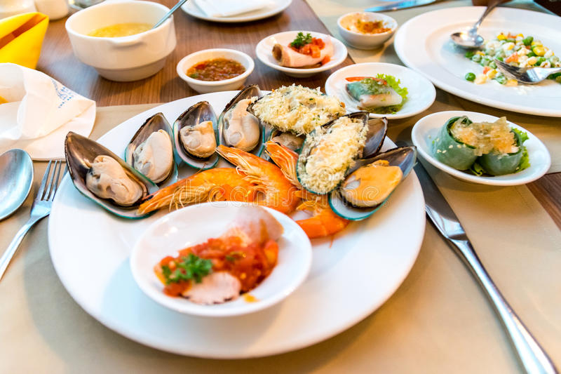 Seafood buffet. Seafood buffet in the restaurant of a hotel stock photography